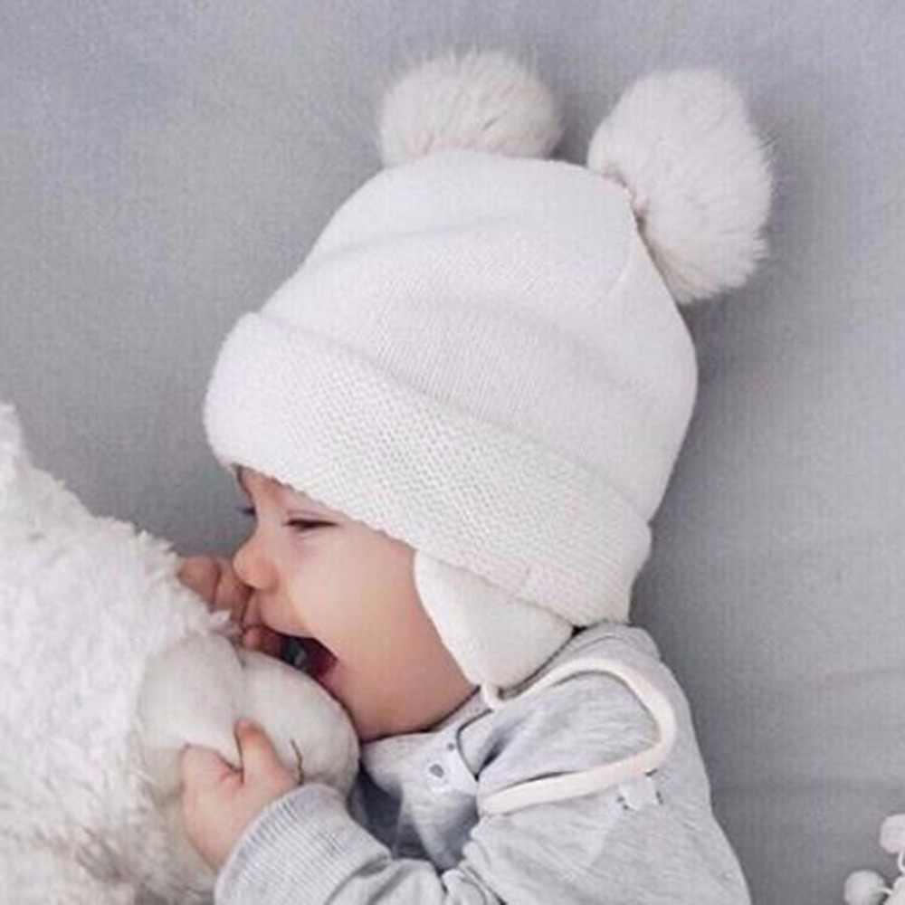 หูหมีน่ารักเด็กหมวกผ้าฝ้ายนุ่มทารกแรกเกิดทารก Beanie คู่ชั้นอบอุ่นฤดูหนาวหมวกเด็กทารกถักหมวกเด็กใหม่