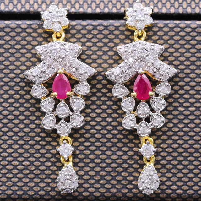 Unique Earrings Jewelry White&yellow Gold Plated Created Ruby&Zircon Grape Shape Drop Party Long Stud Earrings Jewelry For Women