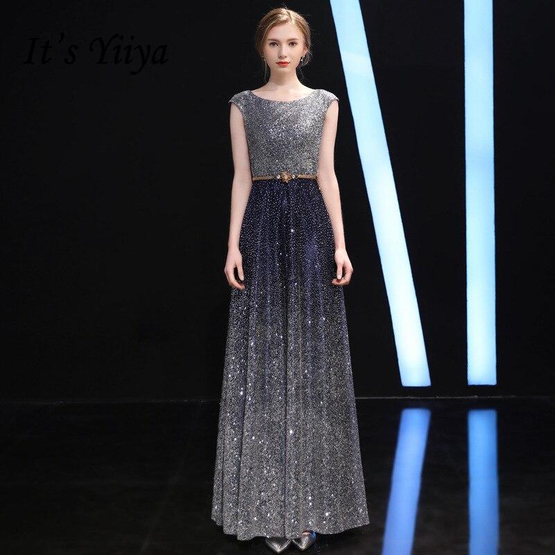 It's Yiiya O-Neck Sleeveless Evening Dresses Fashion Designer Bling Sequined Floor Length Slim Formal Dress LX317
