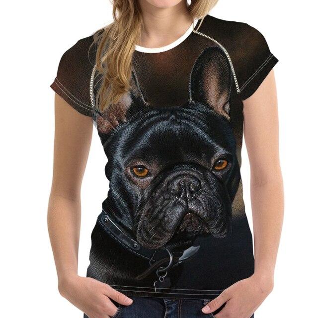a34b678403 Animal bonito Francês Bulldog Impressão Mulheres T Verão Camisas Femininas  Elásticas Camisetas O Pescoço Moda Manga Curta Top Tees