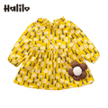2017 Infant Girl Spring Clothes Yellow Color Baby Girl Dresses Long Sleeve Princess Girls Easter Outfits Little Girls Dress