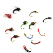 Bimoo 120pcs Combination Beadhead Nymph Fly Trout Fishing Flies John Wood is Two Cent Caddis Bluegill Crappie Makerel Fish Bait