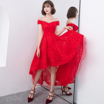 Women Off Shoulder Dress Asymmetric Hems Cheongsam Chinese Traditional Lace Embroidery Dresses evening dress  Qipao Vestidos