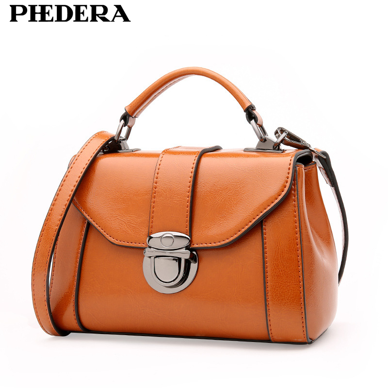 PHEDERA Brand Autumn New Genuine Leather Women Handbag Bag High Quality Fashion Real Leather Female Tote Bags Brown Ladies Bags 2017 new elegant handbag for women high quality split leather female tote bags stylish red black gray ladies messenger bag