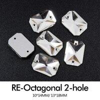לתפור על זכוכית ריינסטון מלבן מתומן Crystal clear 10X14 מ