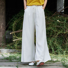 8e250740e0b1 Johnature Color sólido pantalones de pierna ancha de las mujeres cinturón  de cintura elástica pantalón de