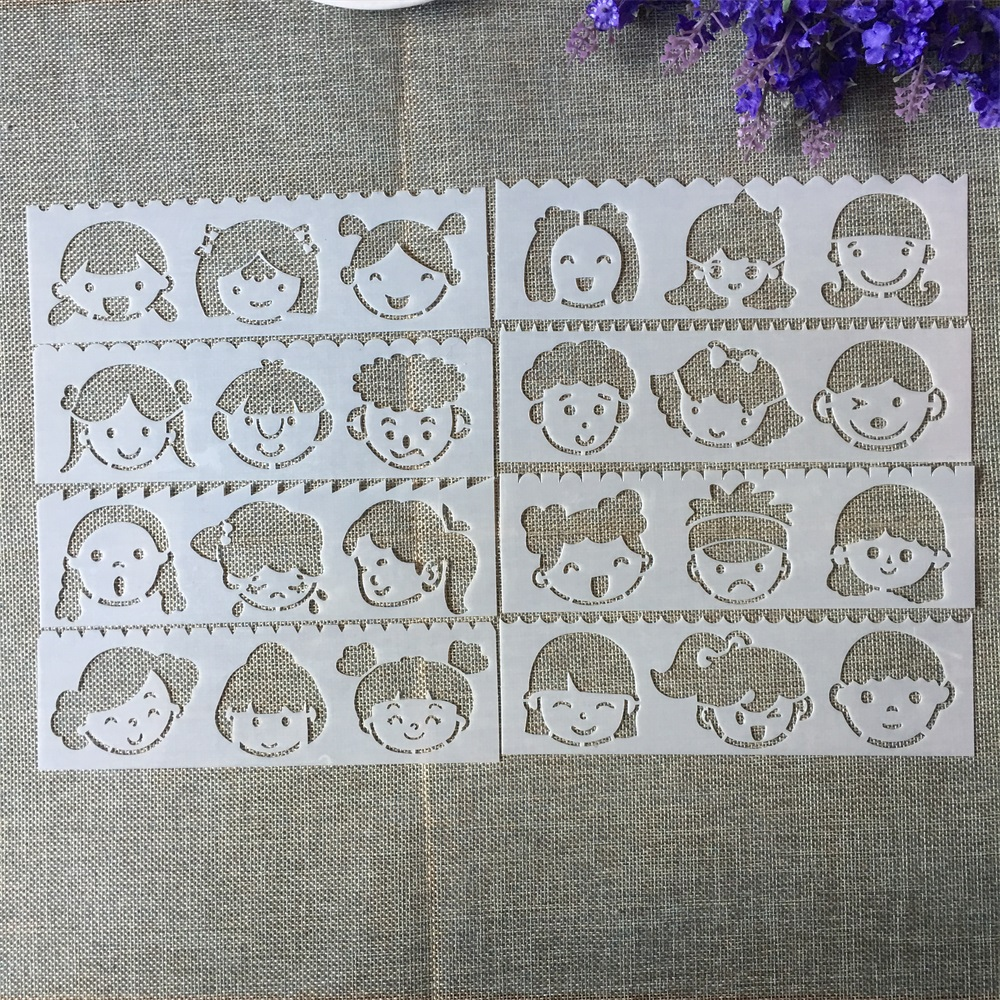 8Pcs New 18.5*5.5cm Little Girls DIY Layering Stencils Painting Scrapbook Coloring Embossing Album Decorative Template