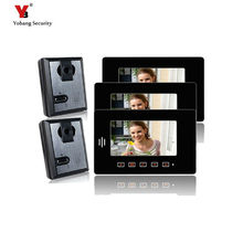 Yobang Security 7″ Apartment Entry Door Phone system Home door phone 2 cameras+3 monitors door monitor Speaker Video intercom