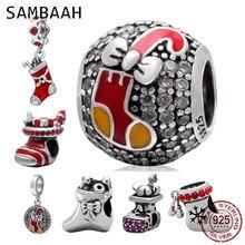 Sambaah Christmas Santa Stocking Charm 925 Sterling Silver Xmas Boot Beads for Original Pandora Christmas Gifts Bracelet цена