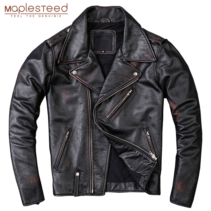 MAPLESTEED Washed Stone Milled Distressed Edging Vintage Leather Jacket For Men Jackets 100% Natural Calf Skin Coat Winter M209