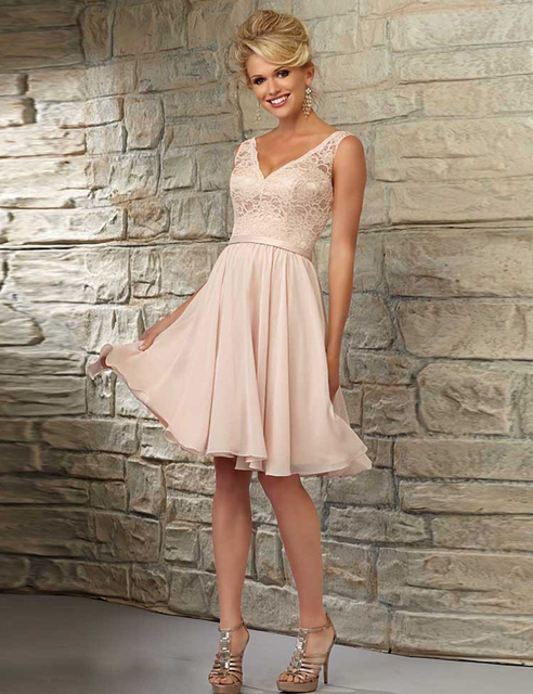 Bridesmaid Dress 2017 Formal V Neck Coral Sexy Knee Length Wedding Guest Gowns Party Dresses