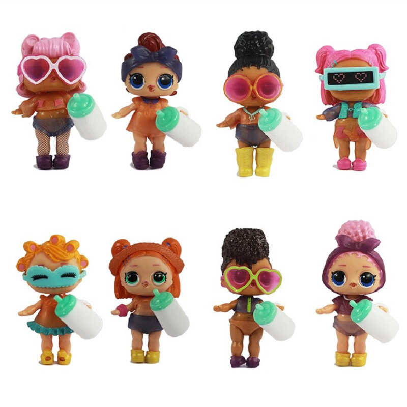 8Pcs/set Kawaii Boneca Collectable Glitter 4 Styles lol Doll Dress Up Action Figure Dolls Funny Kids Birthday Party Gifts Toys 8pcs set the octonauts cartoon action figures kids toys captain barnacles medic peso model children birthday gifts with box