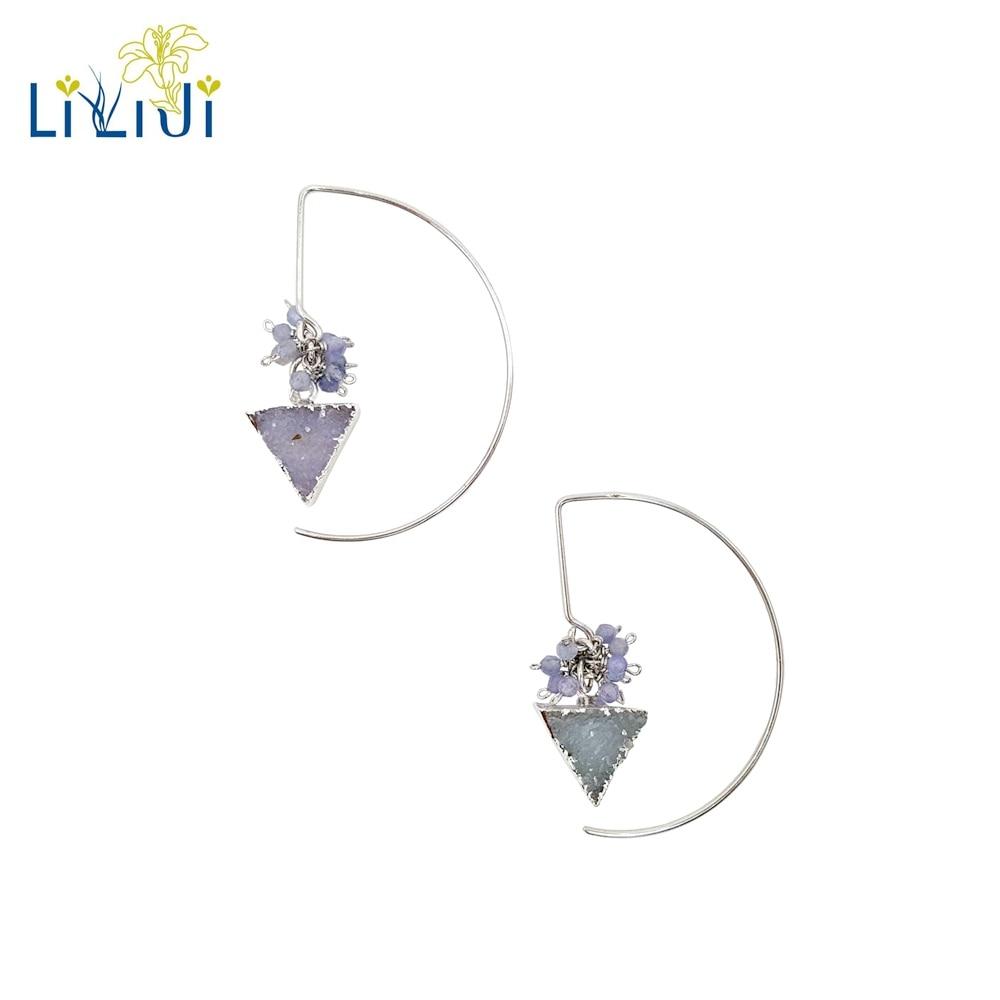 Lii Ji Natural Crystal,Tanzanite 925 Sterling Silver Gold Plated Geometry Earrings Women Jewelry premium pc tpu material cute milk cow style case cover for samsung galaxy note 3 n9002 n9006 n9005 n9008 n9009