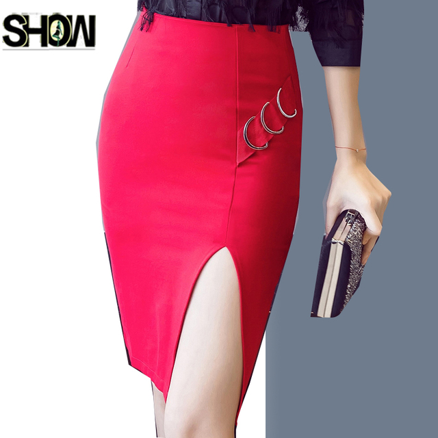 fae7ee349782 High Waist Skirts 5XL 4XL Korea Design Women Fashion Slim Fit Pencil Sexy  Office Lady Work Black Bandage Mini Slit Split Skirts