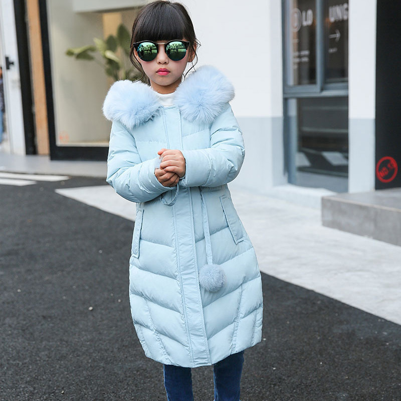 Children's clothing girl down jacket 2016 new winter coat for girls long warm fur collar hooded teenage girls outerwear DQ173 a15 girls down jacket 2017 new cold winter thick fur hooded long parkas big girl down jakcet coat teens outerwear overcoat 12 14