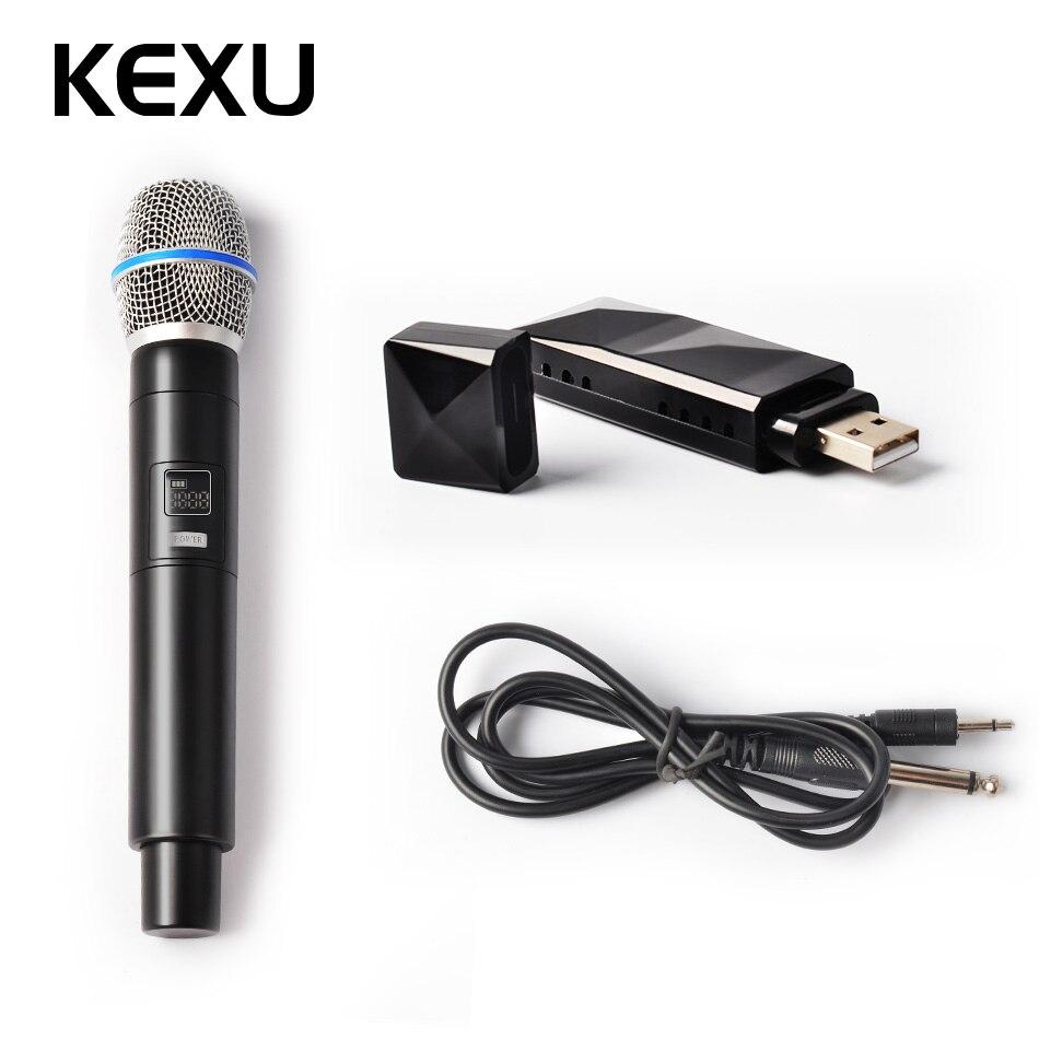 KEXU Professional Karaoke Wireless Microphone 3.5mm 2 in 1 Mini USB Receiver For Speech Speaker Megaphone Church Lectures Mic