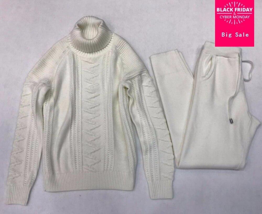 Cachemire + De Laine twist Tricot chaud définit col haut Velours Chandail + Vison Cachemire Pantalon Loisirs Deux-pièce élastique costumes wq109