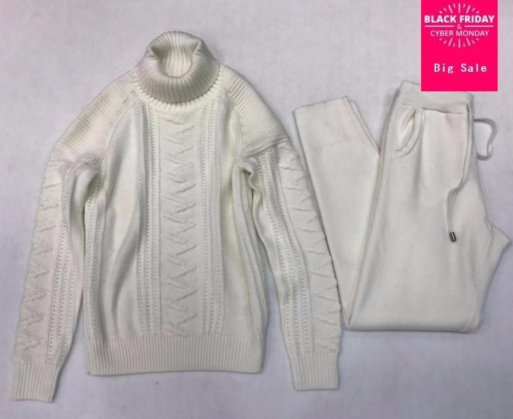 Cashmere + Lana torsione A Maglia serie di riscaldamento di alta collare Maglione di Velluto + Visone Cashmere Pantaloni Per Il Tempo Libero A due pezzi elastico abiti wq109