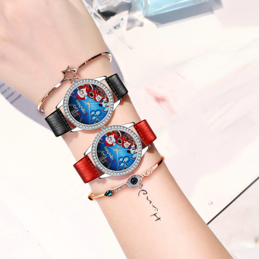 2018 Analog Women Watch Lady PU Leather Band Christmas Gifts Diamond Dial Wrist Watches Female Clock Women's Quartz Watch &Ff