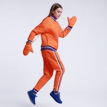 CH264 Оригинальный Дизайн Зима 2016 случайные свободные куртки и брюки женщины цвет блока полосы лоскутное белая утка вниз набор