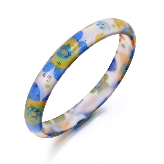 2pcs Fashion Jewelry Colorful Acrylic Bracelets Bangles For Women Flower Pattern Round Hand Bracelet