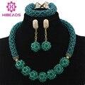 Glamorous Boda Perlas Africanas Joyería Conjunto Teal Verde Chunky Collar Cadena De Bolas Pendientes Perlas Set Envío Libre WD228