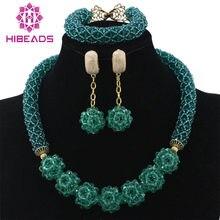 175111b1fbbd Glamoroso verde Teal boda Africana cuentas conjunto de joyas de collar de  cadena de la bola pendientes perlas envío gratuito WD2.