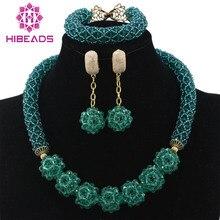 Glamorous Teal Màu Xanh Lá Cây Wedding Beads Phi Jewelry Đặt Chunky Vòng Cổ Bóng Chain Earrings Set Beads Miễn Phí Vận Chuyển WD228