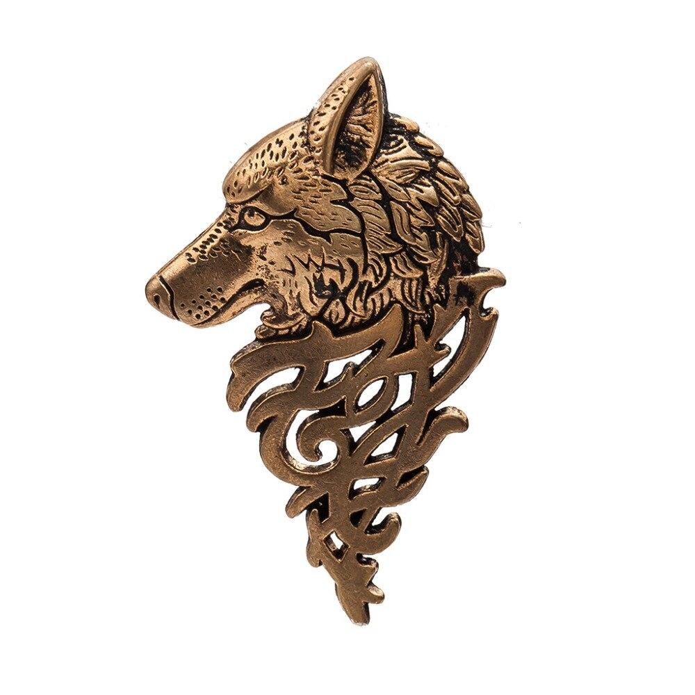 Vintage large pewter wolf brooch