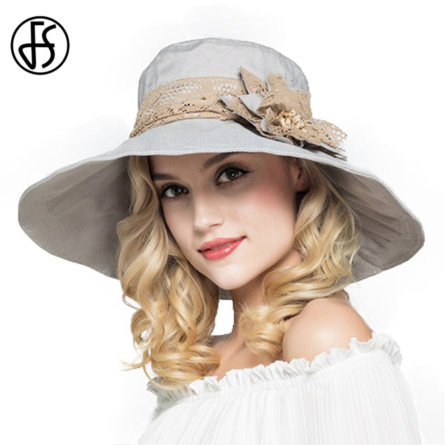5c6d1afbde6ad FS Ladies Large Brim Floppy Foldable Sun Hats For Women Summer Hats With  Flower Gorras Beach Visor Caps Derby Hat