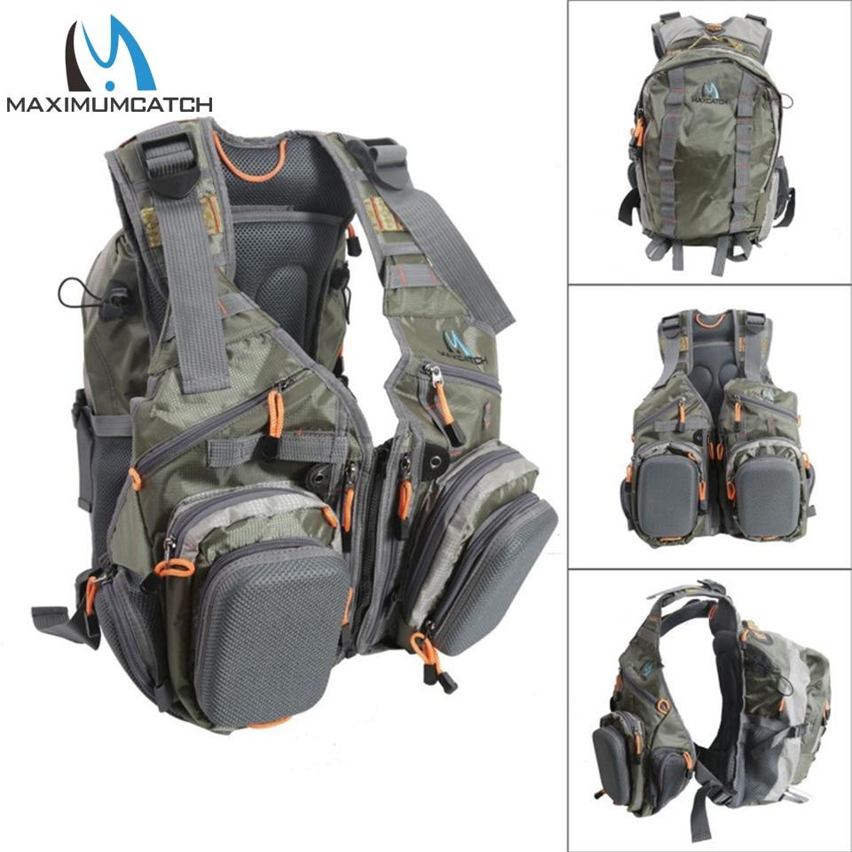 Maximumcatch Fly Fishing Vest Рыбалка сумка з Шматфункцыянальны Кішэні Рэгулёўны памер Рыбалка заплечнік
