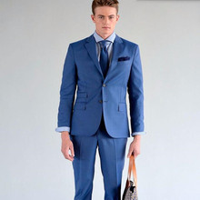 Custom Made Lake Blue Groom suits Tuxedos Fashion formal Suit Mens Wedding Party Suits Groomsman (Jacket+Pants)