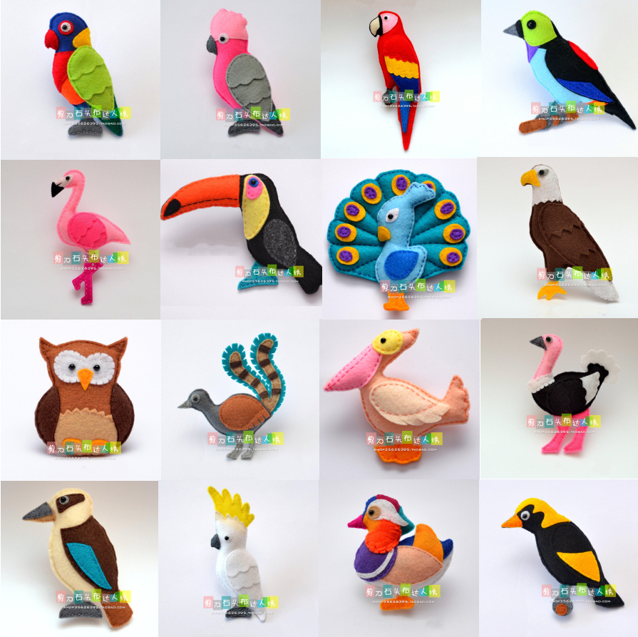 DIY Forest Birds And Parrots. Fabric Felt Kit Non-woven Cloth Craft DIY Sewing Set Handwork Material DIY Needlework Supplies