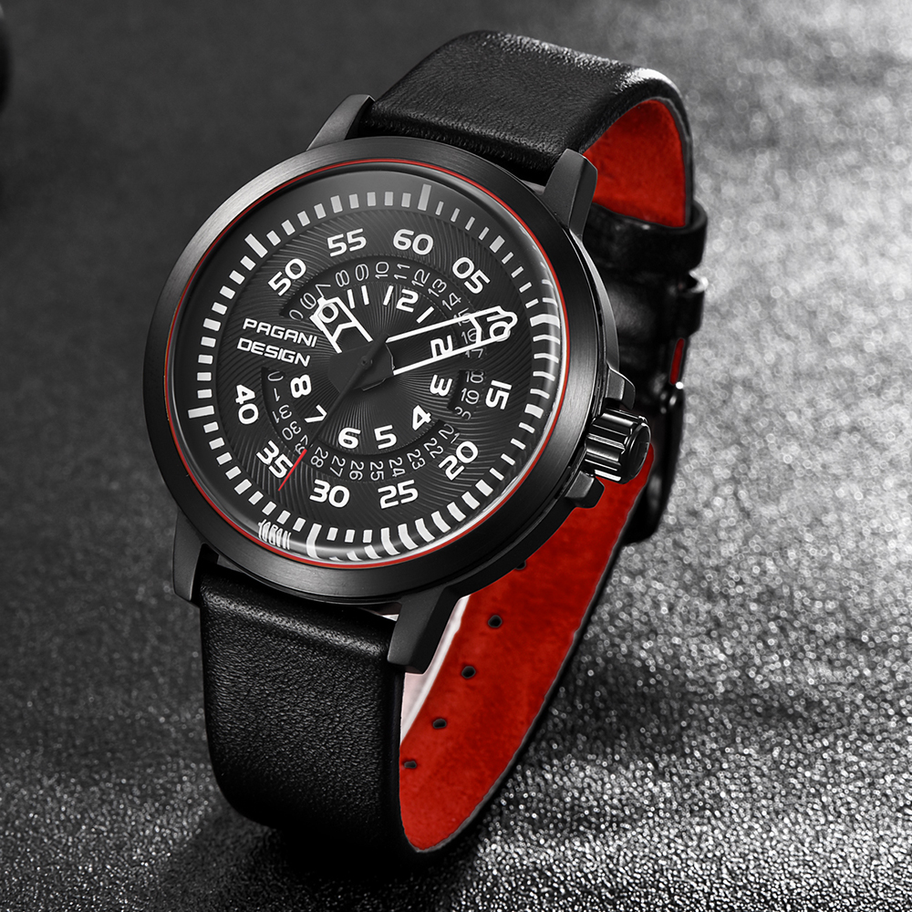 Image 2 - PAGANI Mens Watches Brand Luxury Stylish Watch Leather Strap New Dials Design Rotate Calendar Military Quartz Watch for Men-in Quartz Watches from Watches