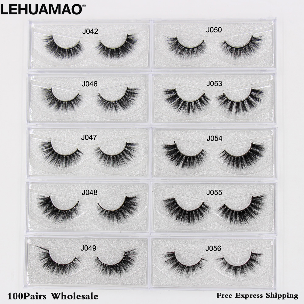Closeout Deals╬LEHUAMAO Mink-Eyelashes Extension Makeup 100pairs Natural 3D Free Cross-Thick DHL NEW©