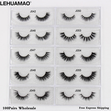 LEHUAMAO Free DHL 100Pairs Mink Eyelashes NEW 3D Lashes Extension Makeup False Cross thick Natural Fake