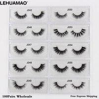 LEHUAMAO Free DHL 100Pairs Mink Eyelashes NEW 3D Mink Lashes Extension Makeup False Eyelashes Cross thick Natural Fake Eyelashes