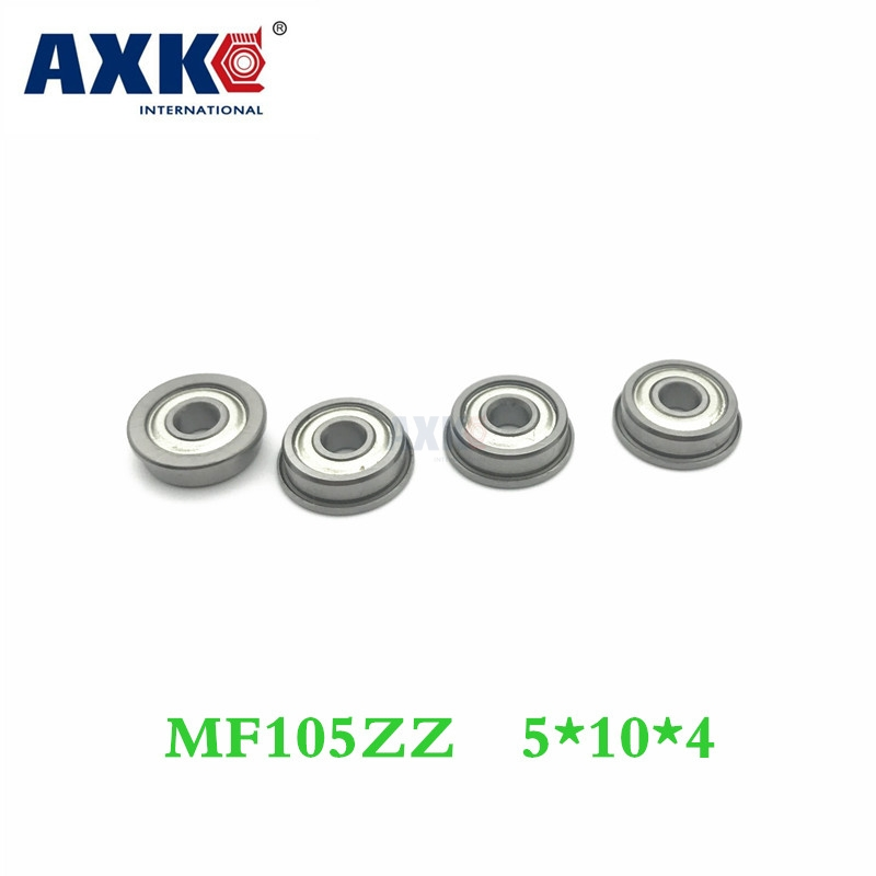 Axk Free Shipping 10pcs/lot Mf105 Mf105zz <font><b>5*10*4</b></font> Miniature Flange Deep Groove Ball Radial Ball Bearings image