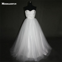 2017 A Line Strapless Sweetheart Pleated Lace Appliques Tulle Beaded Wedding Dresses White Ivory Bridal Gown