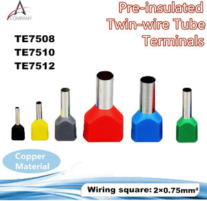 100PCS TE7512 Wire Ferrules Sleeve Double Cord End Terminal Copper Insulated Crimp Splice Terminal For 2 X 0.75mm2