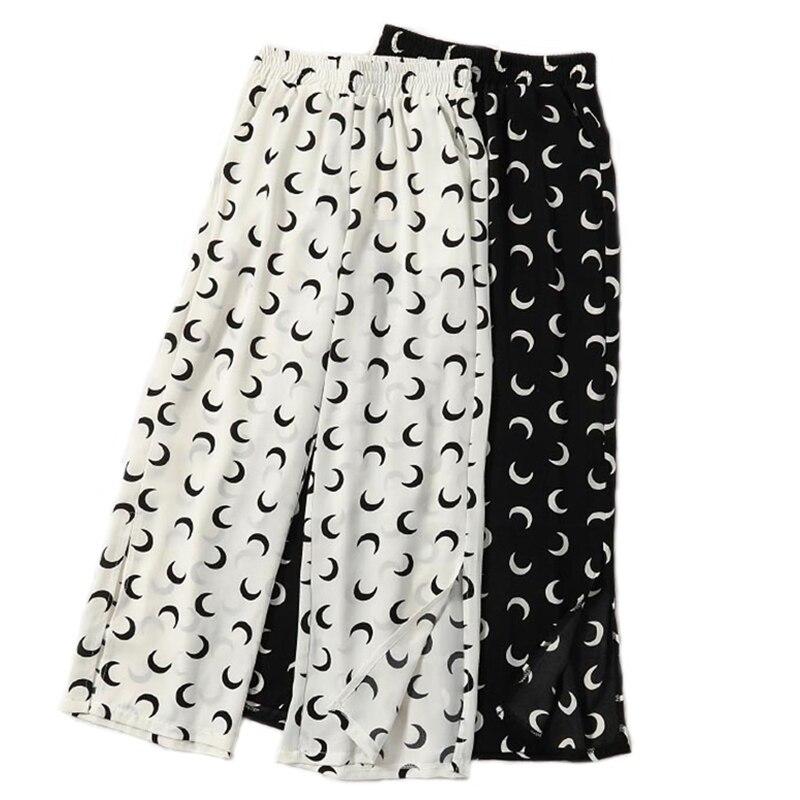 High Elastic Waist Trousers For Women Print   Wide     Leg     Pants   Chiffon Loose Bohemia   Wide     Leg     Pant   For Women Fashion beach   pants