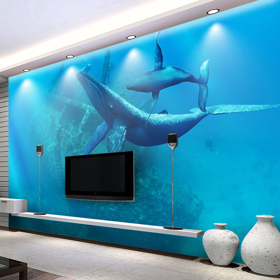 Custom mural wallpaper underwater world whales 3d tv for Custom mural wallpaper