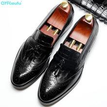 QYFCIOUFU Black Genuine Calf Leather tassel brogue shoes men Handmade Wedding Office Dress Shoes Luxury Brand formal