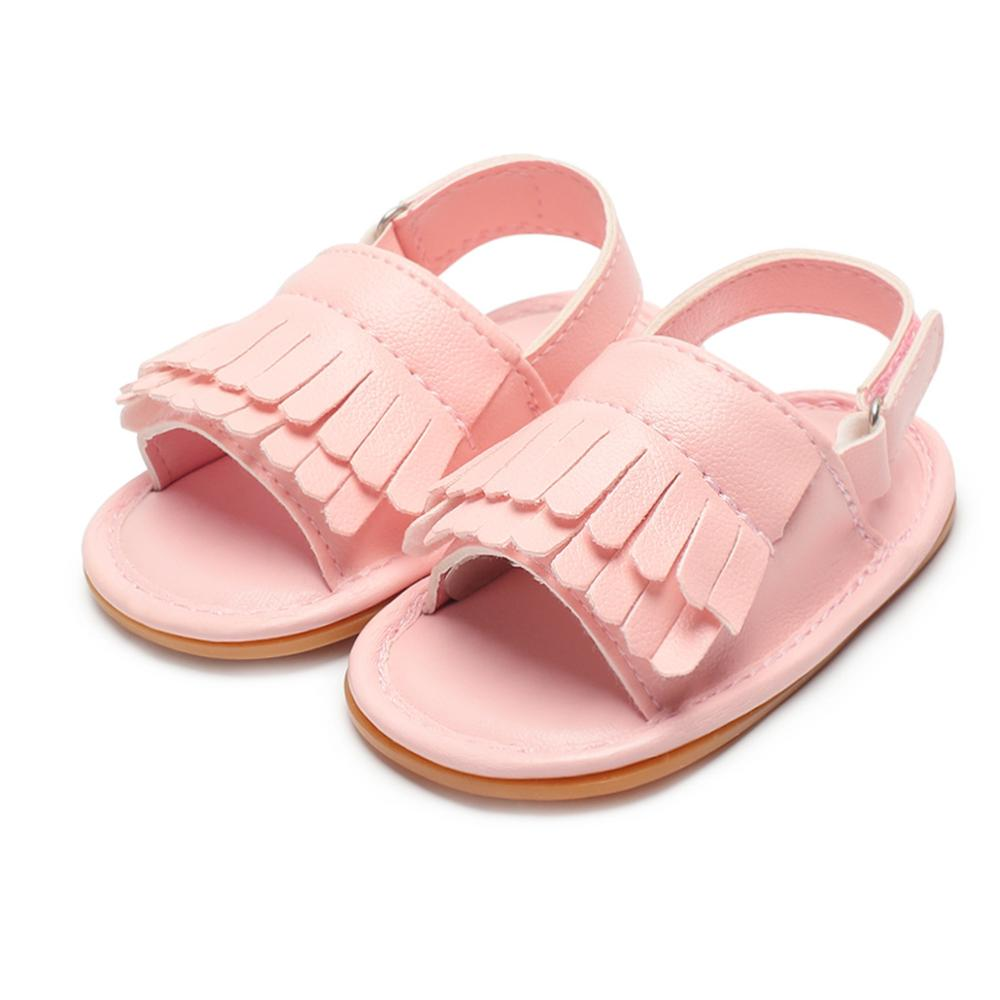 Baby Sandals Solid Fashion Newborn Baby Girl Boy Shoes PU Tassel Baby Girl Sandals Summer New Adjustable Baby Sandals in Sandals Clogs from Mother Kids