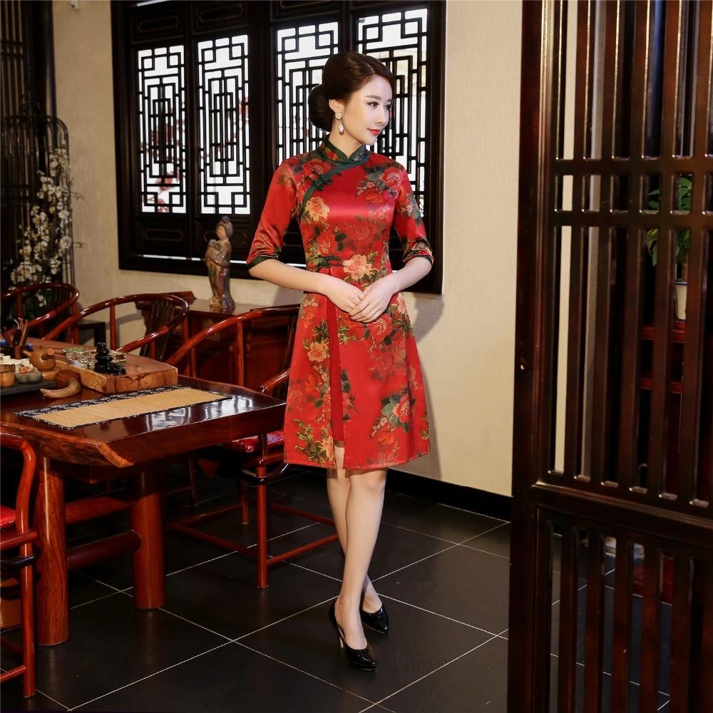 56e39bea824d77a Шанхай история Высокое качество цветочный Чонсам Qipao красное платье в  фольклорном стиле китайское традиционное платье вьетнамский