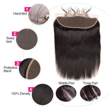 Frontal Peruvian Hair Lace Frontal Straight Human Hair Non Remy