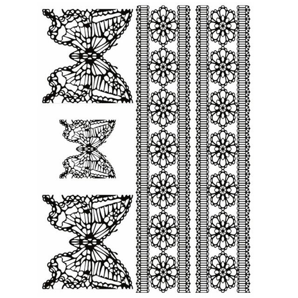 Yeeech Temporary Tattoos Sticker for Women Fake Lace Butterfly Designs Black White Bracelet Sexy Long Lasting Arm Leg Body Art