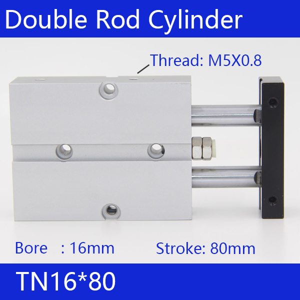 TN16*80 Free shipping 16mm Bore 80mm Stroke Compact Air Cylinders TN16X80-S Dual Action Air Pneumatic Cylinder tn16 70 twin rod air cylinders dual rod pneumatic cylinder 16mm diameter 70mm stroke