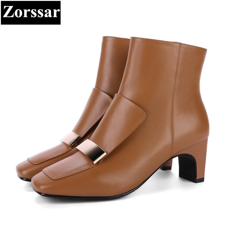 {Zorssar}2018 NEW fashion buckle Women Boots Genuine Leather Square Toe High heels ankle Martin boots Autumn winter female shoes women martin boots 2017 autumn winter punk style shoes female genuine leather rivet retro black buckle motorcycle ankle booties