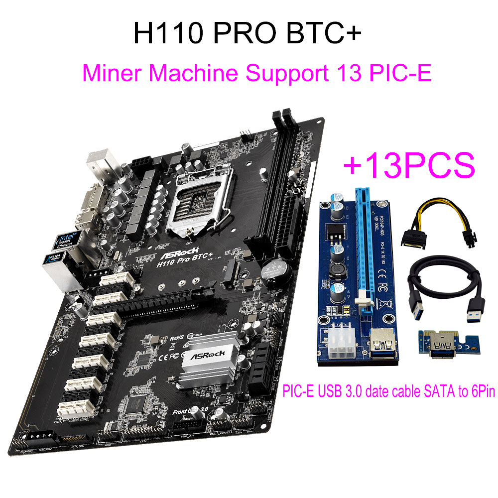New For ASRock H110 PRO BTC+ 13Pcs Riser Card For BTC Miner Machine Bitcoin Support 14Graphics 1151 Mining Motherboard 13PCIE